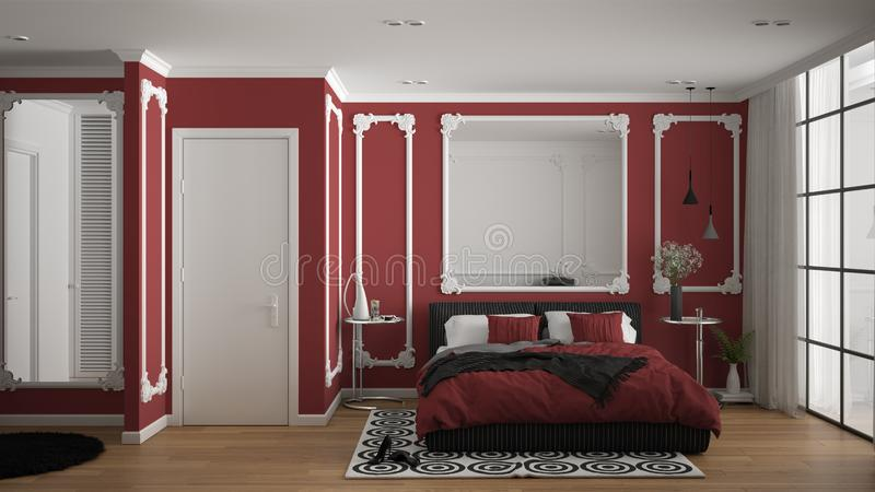 Modern red colored bedroom in classic room with wall moldings, parquet floor, double bed with duvet and pillows, minimalist. Bedside tables, mirror and decors vector illustration