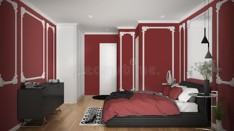 Modern red colored bedroom in classic room with wall moldings, parquet floor, double bed with duvet and pillows, minimalist. Bedside tables, mirror and decors royalty free illustration
