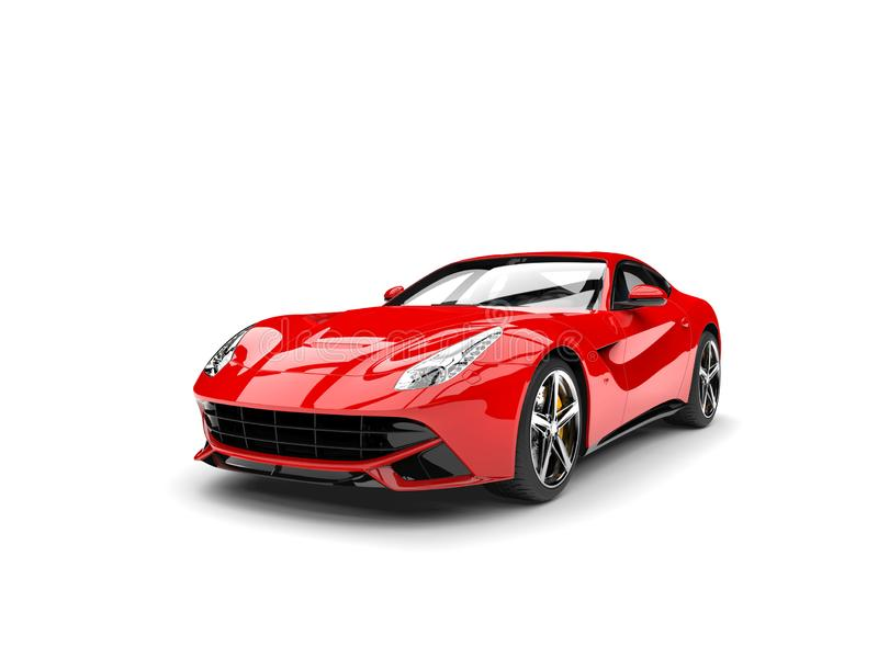 Modern red fast sports concept car - beauty shot. Isolated on white background stock illustration