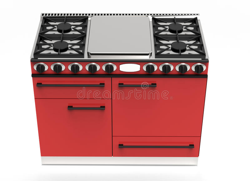 Modern red gas stove with hotplates and ovens. Modern kitchen appliance digital drawing of a red gas stove with hotplates and four ovens viewed high angle with vector illustration