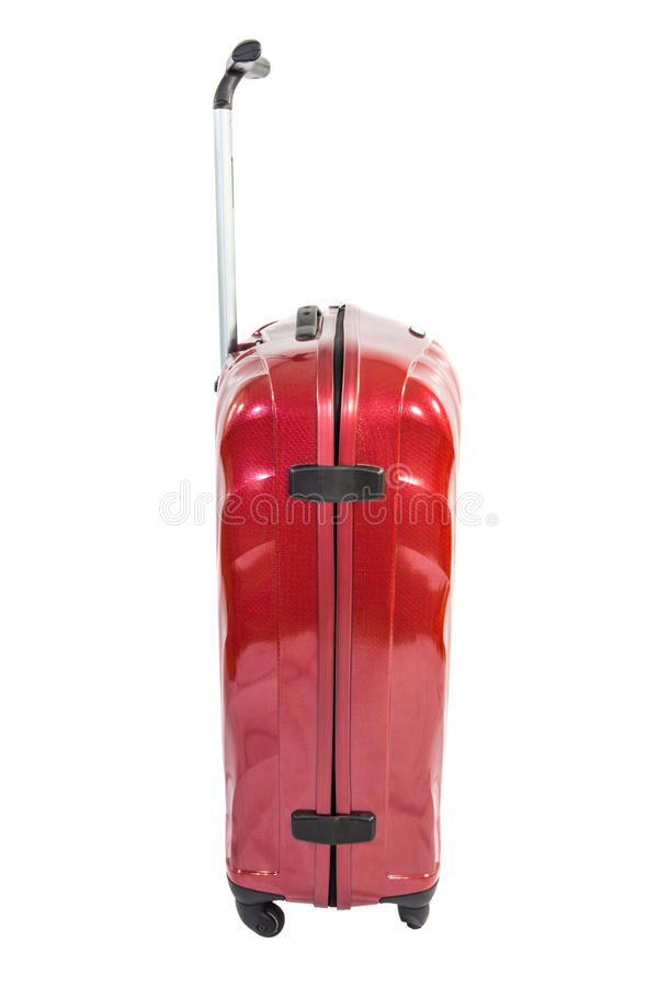 Modern Red Luggage Bag II. Red luggage bag white background royalty free stock photos