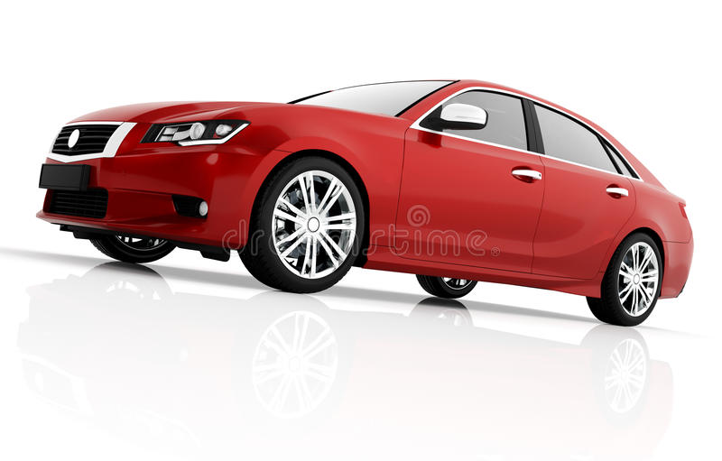 Modern red metallic sedan car in spotlight. Generic desing, brandless. 3D rendering royalty free stock photos