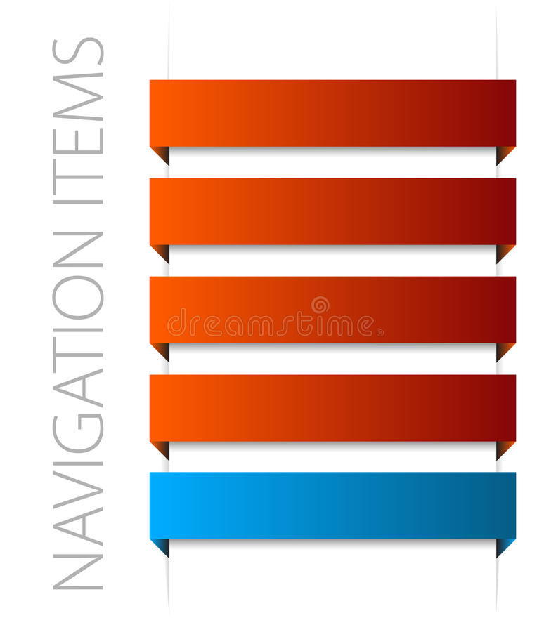 Modern red navigation items royalty free illustration