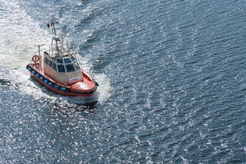 Modern Pilot boat out at sea near Gdansk, Poland stock photos