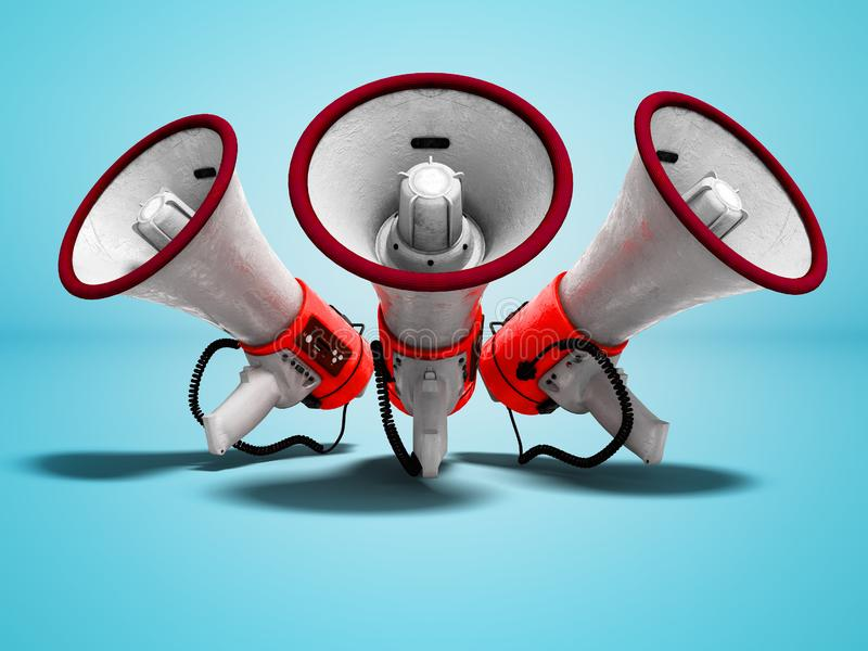 Modern red portable loudspeaker raised up for speech 3d render o. N blue background with shadow vector illustration