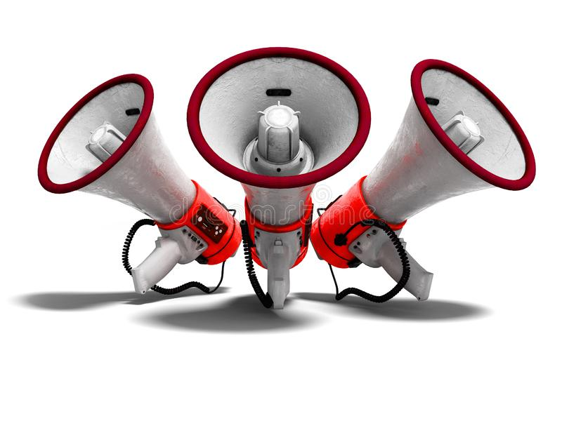 Modern red portable loudspeaker raised up for speech 3d render o. N white background with shadow stock illustration