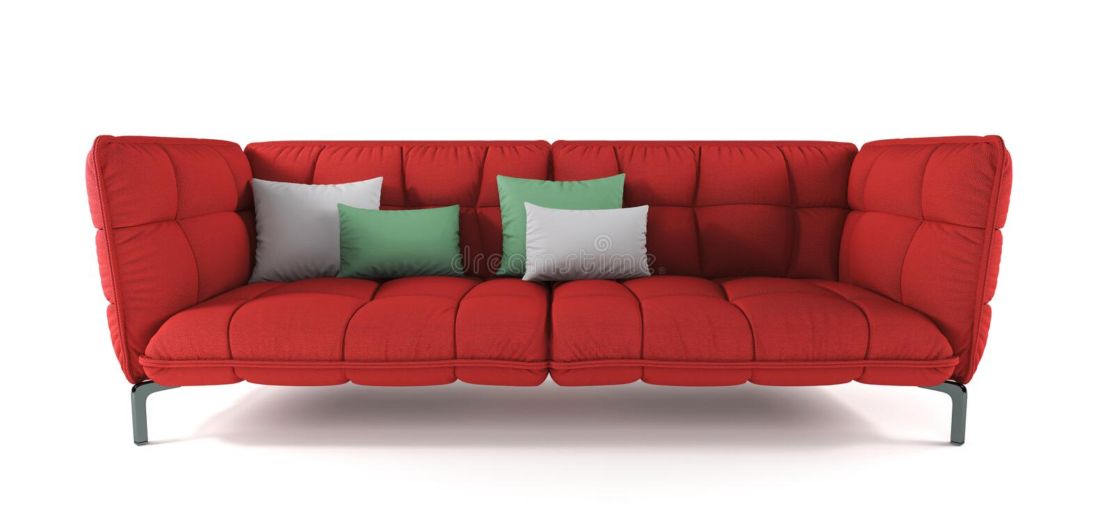 Modern red quilted fabric sofa on metal legs with pillows on isolated white background. Furniture, interior object. Bright scarlet stock photography