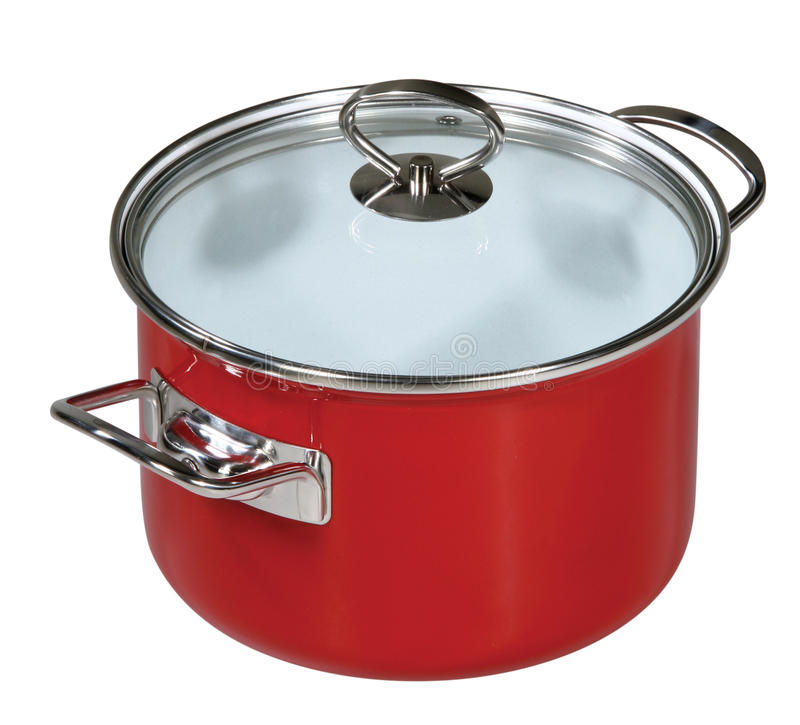 Modern red saucepan. On a white background royalty free stock photo