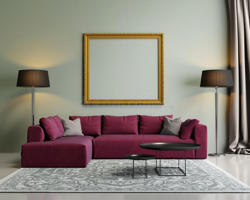 Modern red sofa in a green luxury interior stock photography