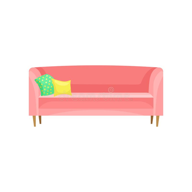 Modern red sofa with pillows, living room furniture, interior design element vector Illustration on a white background royalty free illustration