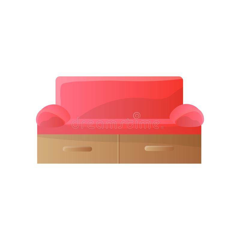 Modern red sofa with tight rounded arms and rectangular shape back template royalty free stock image