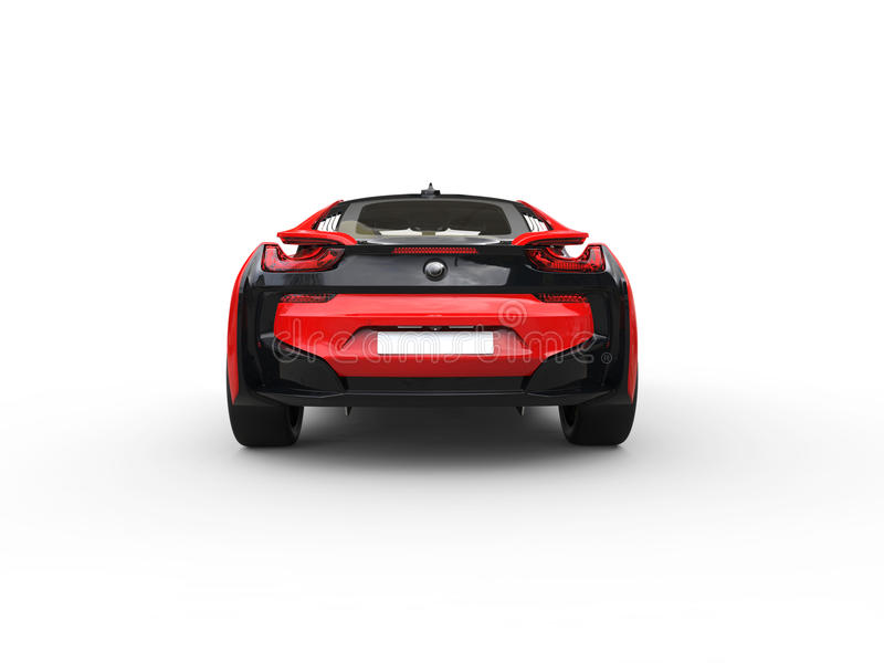 Modern red sports car - back view vector illustration