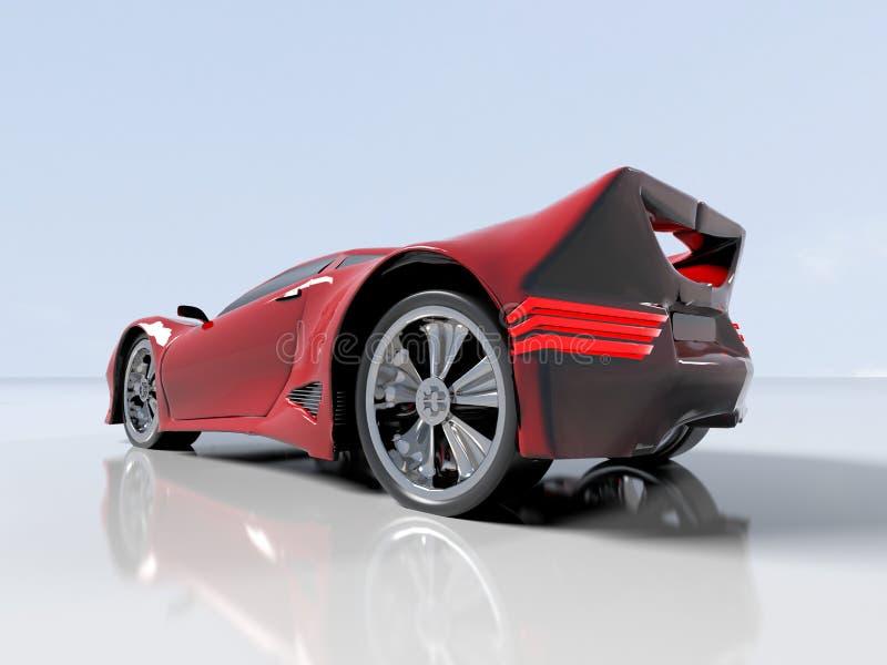 Modern red sports car ,3d ,render royalty free illustration