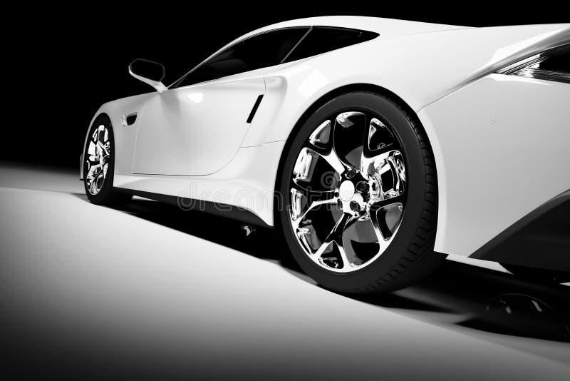 Modern red sports car in a spotlight vector illustration