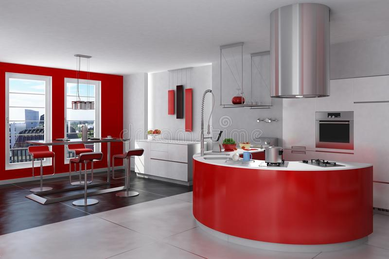 Download Modern Red And Steel Kitchen Stock Illustration - Image: 13088886