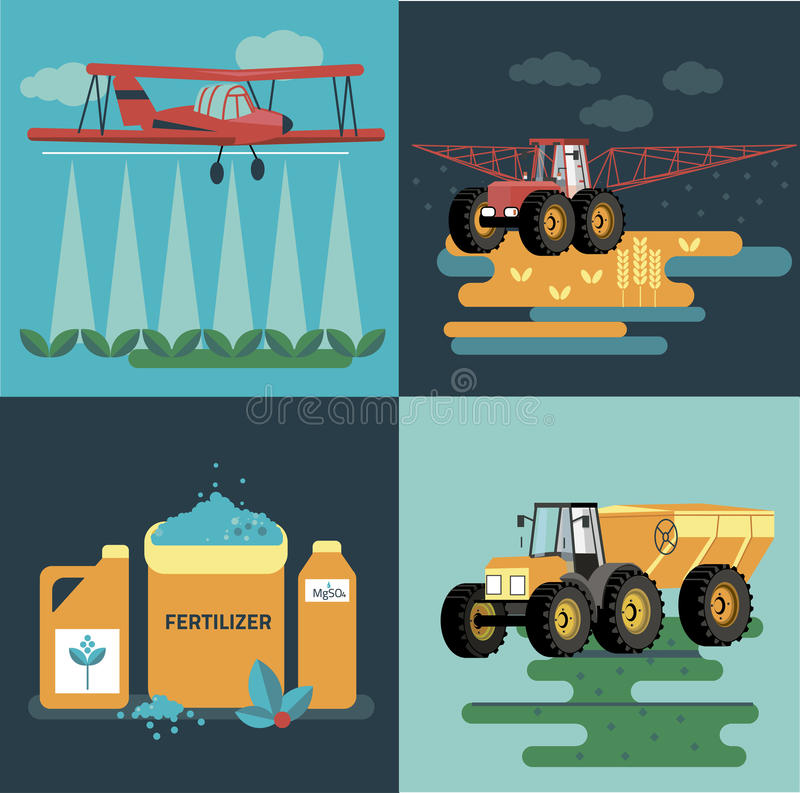 Modern red tractor in the agricultural field;. Crop duster spraying agricultural chemicals pesticide a farm field. Vector Illustration stock illustration