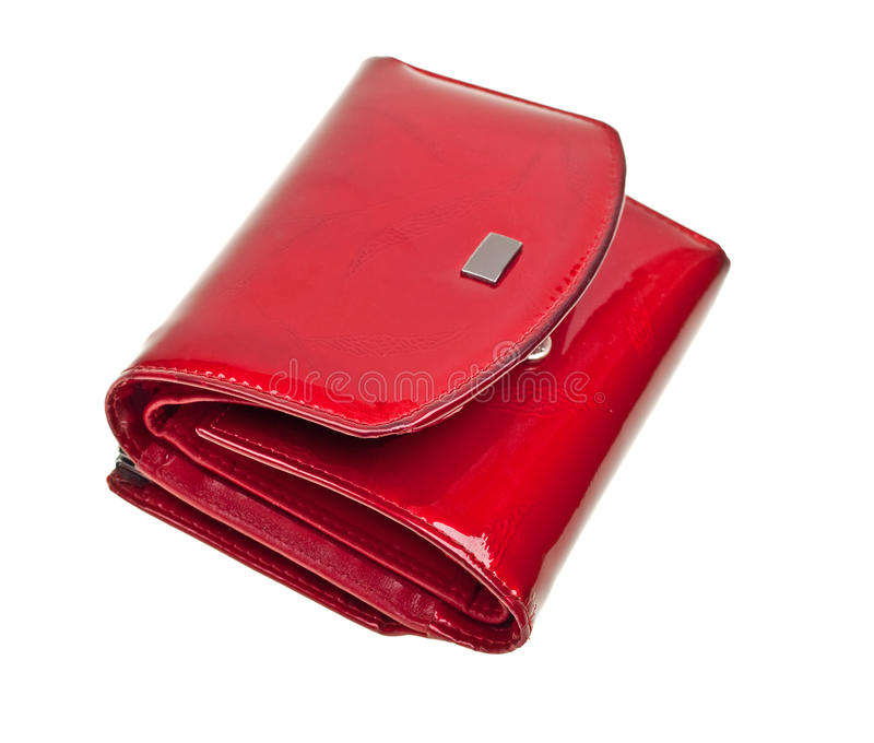 Modern red wallet isolated on white. Background royalty free stock images