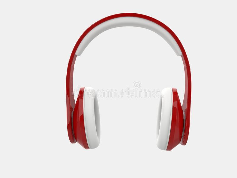 Modern red wireless headphones with white ear pads and details - front view vector illustration
