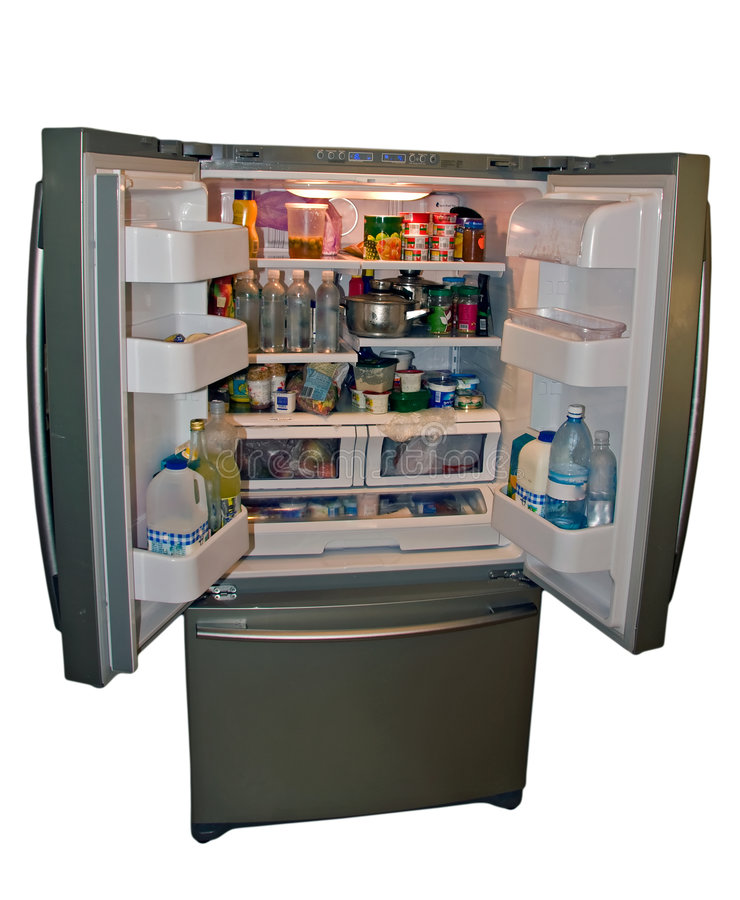 Download Modern Refrigerator With Food Stock Image - Image: 7732057