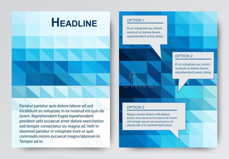 Modern reklamblad för abstrakt vektor, broschyrdesignmall med färgrik geometrisk triangulär bakgrund vektor illustrationer
