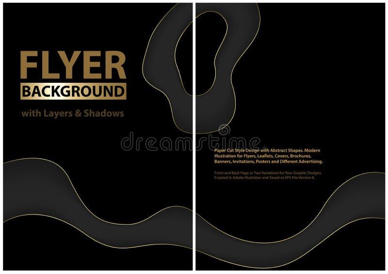 Modern reklambladdesign med svarta lager royaltyfri illustrationer