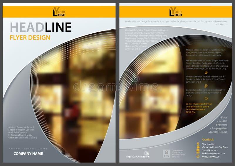 Modern reklambladmall med nattstadsgatan vektor illustrationer