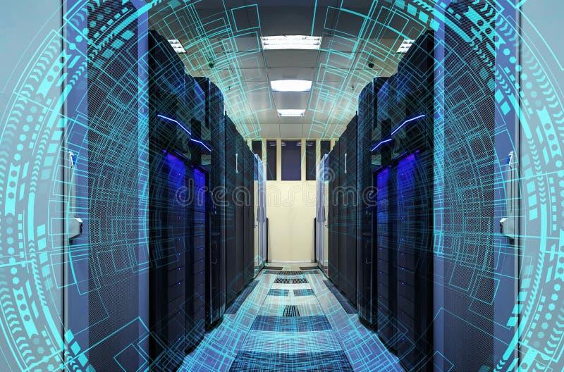 Modern rengöringsduknätverk och internettelekommunikationteknologi, affärsidé för datatjänst för stort moln för datalagring beräk royaltyfri foto