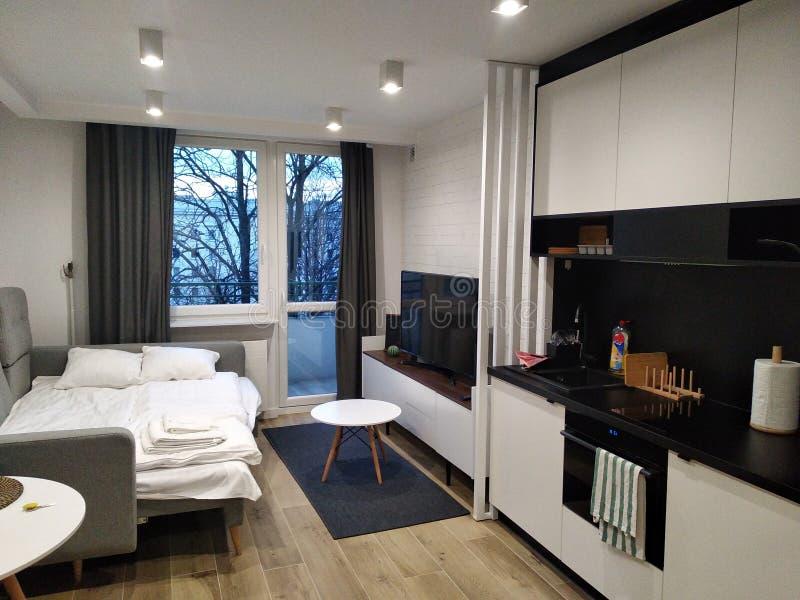 Modern renovering i en liten lägenhet Monokromt inre, formgivare för inredesign grå soffa med vitt sänglinne och kök royaltyfri fotografi