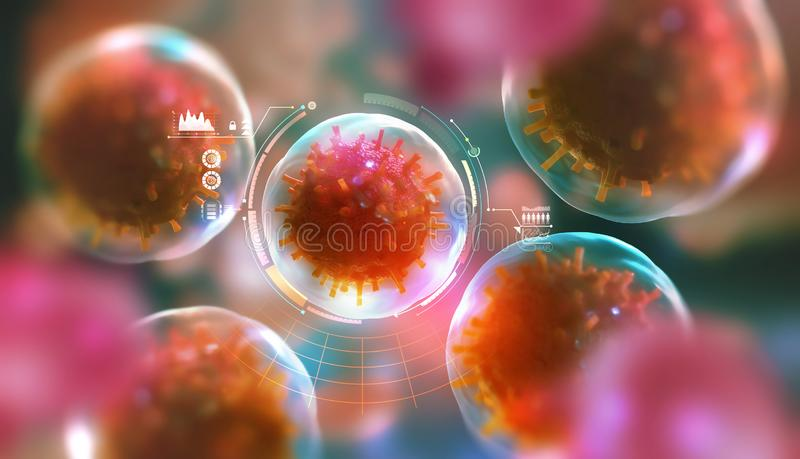 Modern research in microbiology. Study of viruses, microbes and bacteria. 3D illustration on the topic of future medicine stock illustration