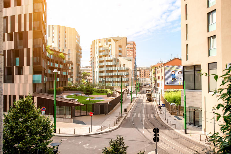 Modern residantial district in Milan stock image