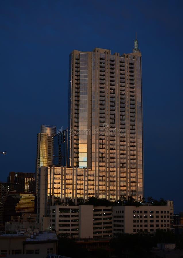 Modern resident building during sunset stock photos