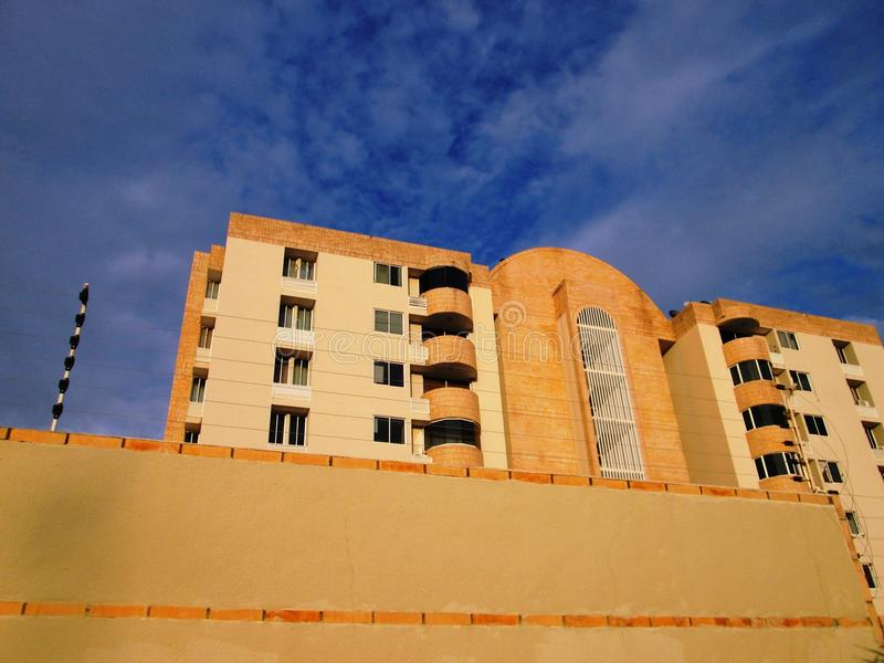 Modern residential apartment building stock images