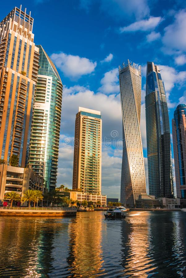 Modern residential architecture of Dubai Marina, UAE. Modern residential architecture of Dubai Marina, United Arab Emirates stock images