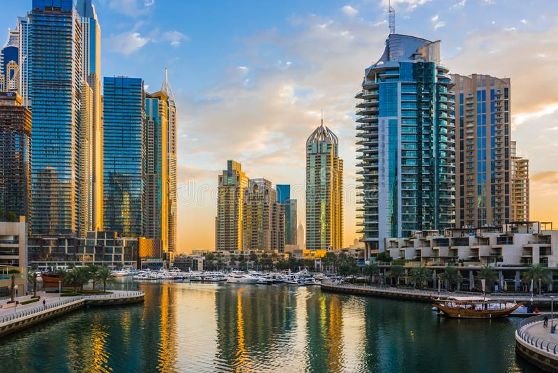 Modern residential architecture of Dubai Marina, UAE. Modern residential architecture of Dubai Marina, United Arab Emirates royalty free stock images