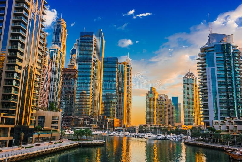 Modern residential architecture of Dubai Marina, UAE. Modern residential architecture of Dubai Marina, United Arab Emirates royalty free stock photos