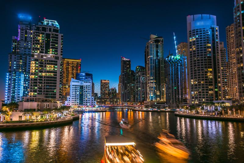 Modern residential architecture of Dubai Marina, UAE. Modern residential architecture of Dubai Marina, United Arab Emirates. City skyline by night stock photo