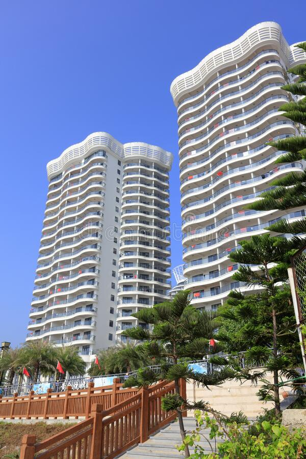 The modern residential area at qingaowan bay, adobe rgb. Modern residential area at  qingao bay, nanao island, shantou city, guangdong province, china. the royalty free stock image