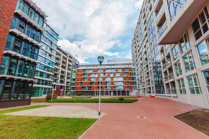 Modern residential building in Eindhoven, Netherlands. With about 225,000 inhabitants its the 5th-largest municipality of Netherla royalty free stock photography