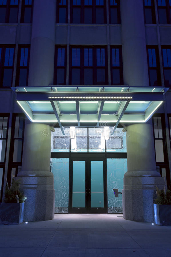 Foyer House St Paul : Modern residential building entrance at night stock image