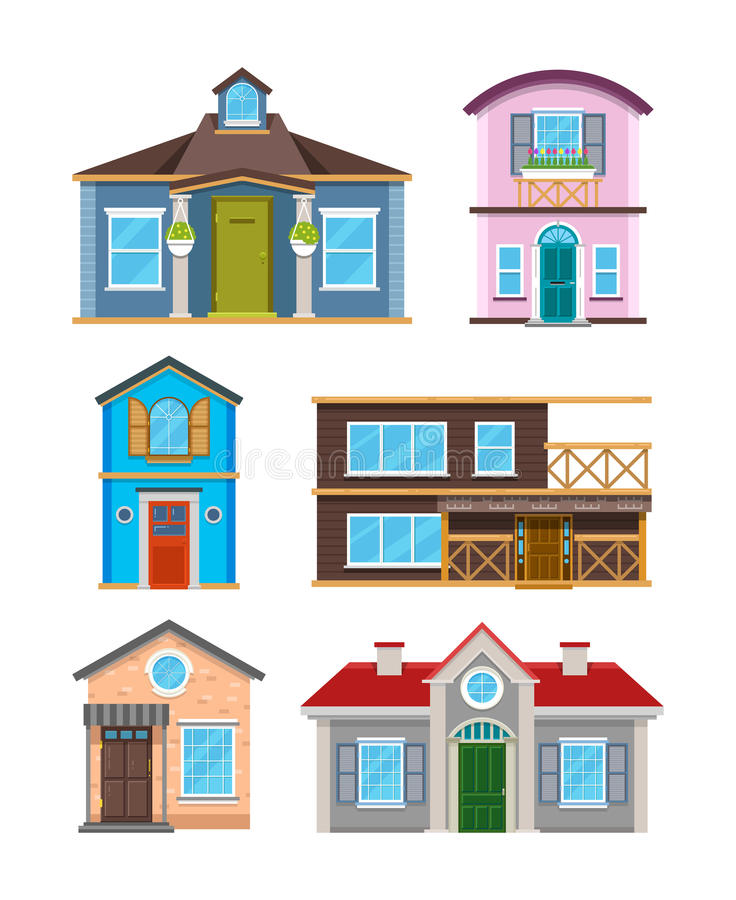 Modern residential building houses cartoon vector collection royalty free illustration