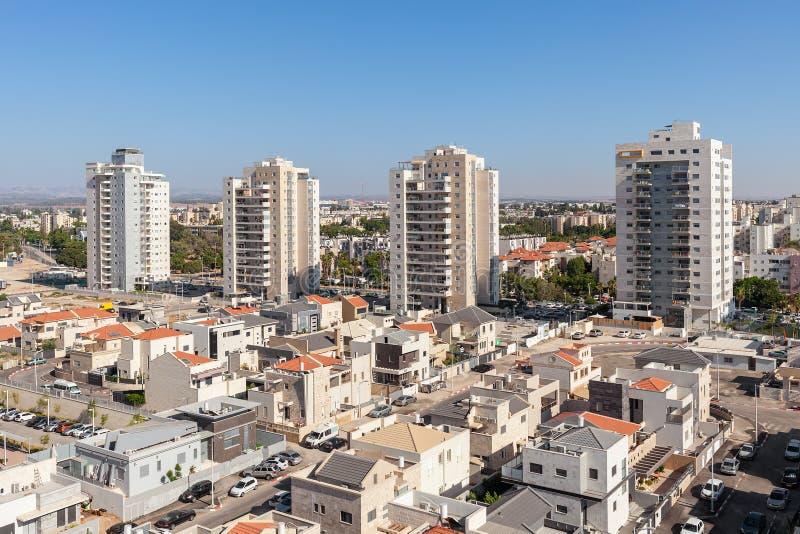 Modern residential buildings in Israel. Contemporary residential buildings and houses in new neighborhood of Kiryat Gat - city in southern district of Israel royalty free stock photo