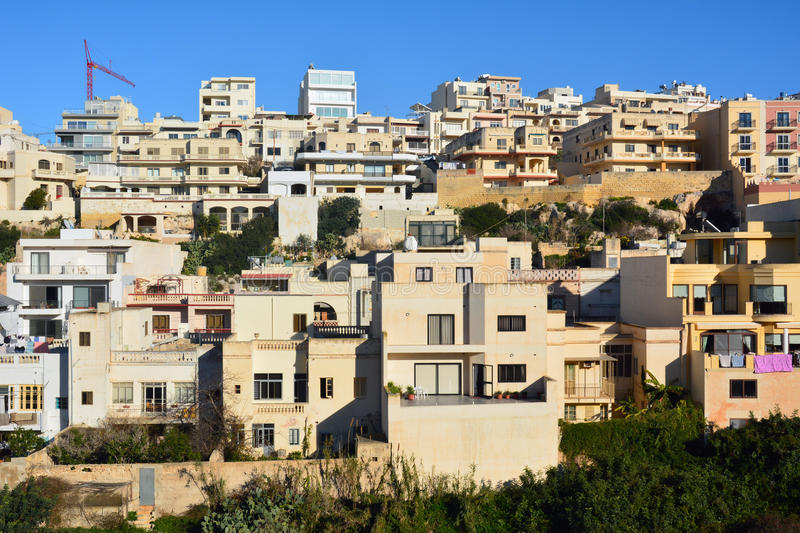 Modern residential buildings in Mellieha. stock photography