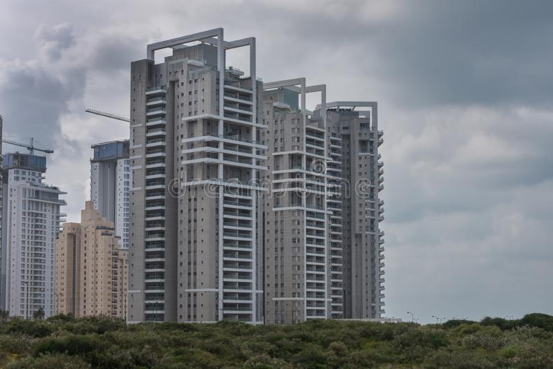 Modern residential buildings in Netanya in Israel on the shores of the Mediterranean Sea. City landscape stock photos