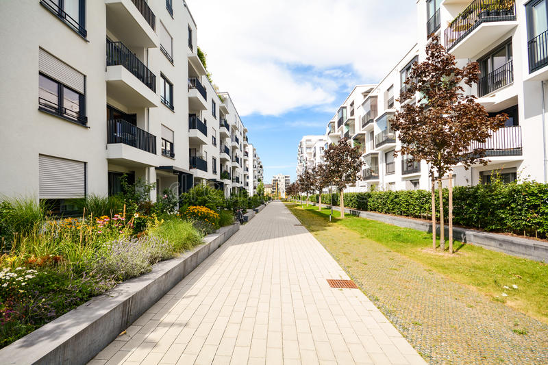 Modern residential buildings with outdoor facilities, Facade of new low-energy house royalty free stock images