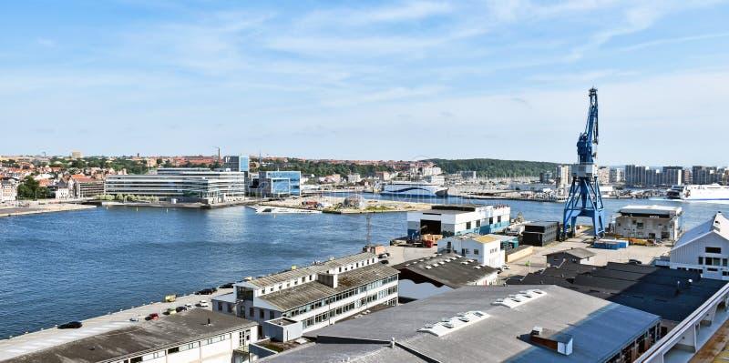 Panorama of the port of Aarhus in Denmark. Panorama of the port of Aarhus in Denmark royalty free stock photo