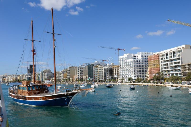 Modern residential buildings in Sliema on Malta stock photos