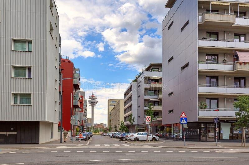 Modern residential neighborhood in the borough of Favoriten. Vienna, Austria. VIENNA, AUSTRIA - JULY 12, 2017. Modern residential neighborhood in the borough of stock photos