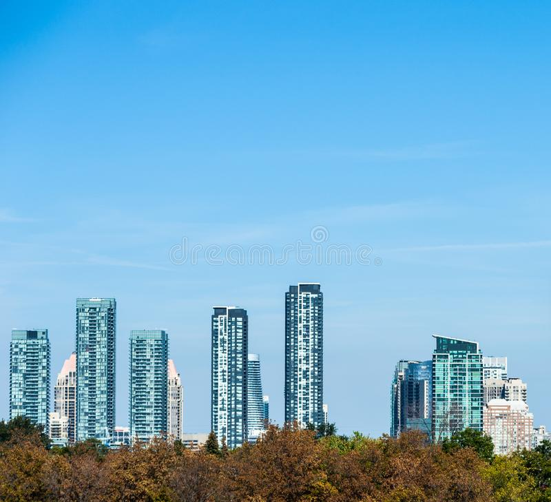 Modern residential towers in Mississauga, Ontario, Canada. MISSISSAUGA, CANADA - OCTOBER 01, 2017: Modern residential condo towers fill the skyline as the royalty free stock photography