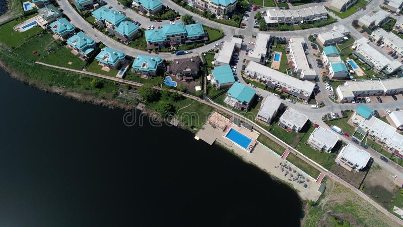 Modern resort build near the lake, real estate residential royalty free stock photos