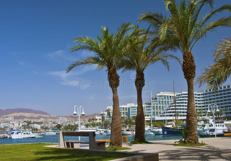 Modern resorts and marine lagoone at Eilat city. Eilat is one of the famous resort cities in the Middle East royalty free stock photo